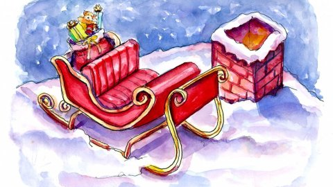 Day 22 - Santa Claus Sleigh On The Roof Watercolor Painting - Doodlewash
