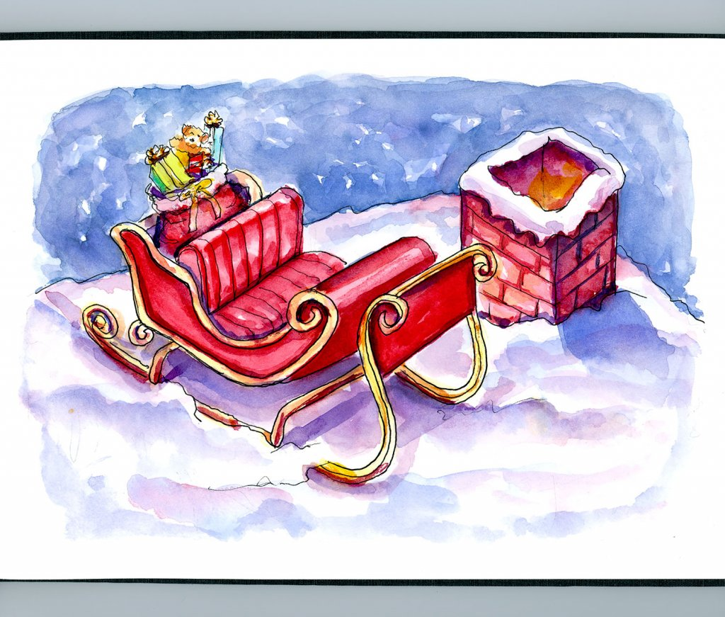 Day 22 - Santa Claus Sleigh On The Roof Watercolor Sketchbook - Doodlewash