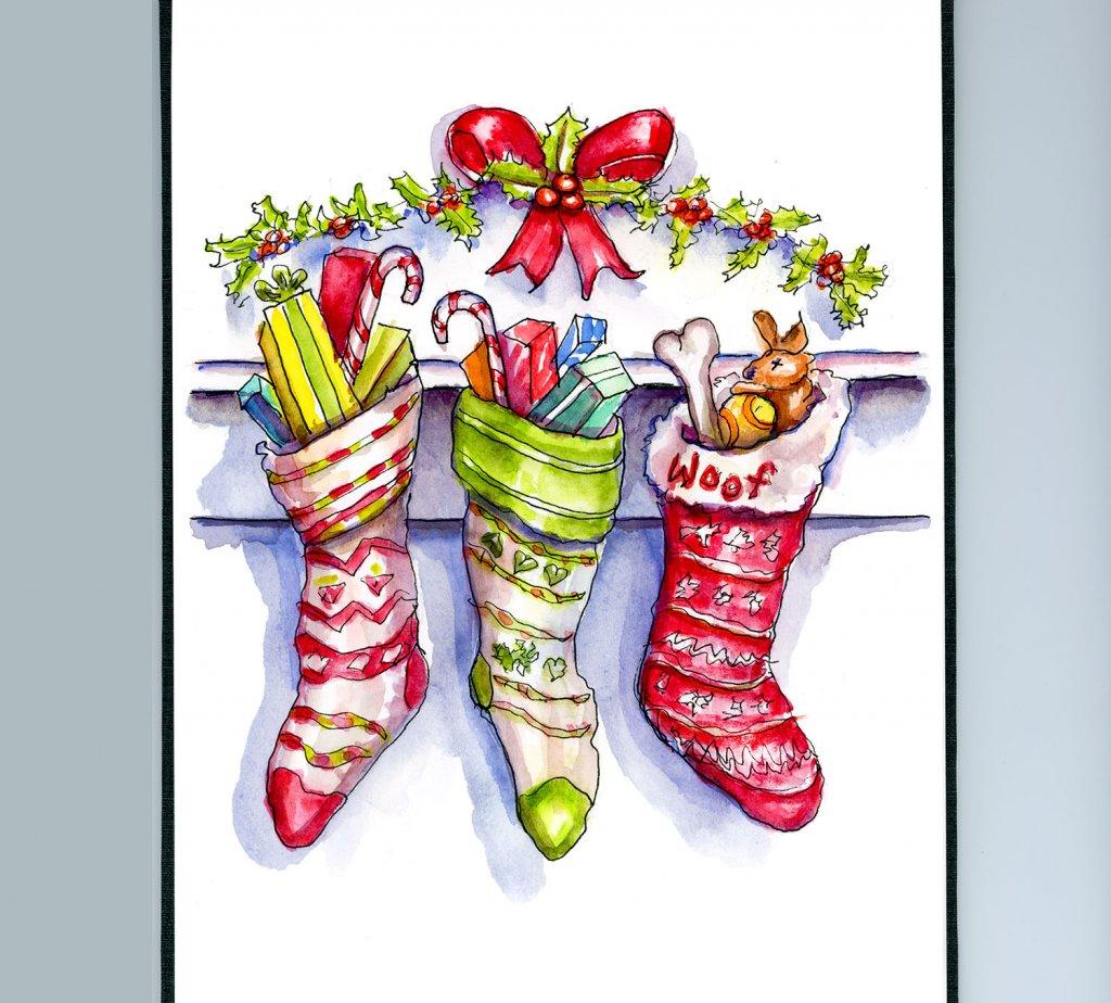Day 23 - Three Christmas Stockings Watercolor - Sketchbook - Doodlewash