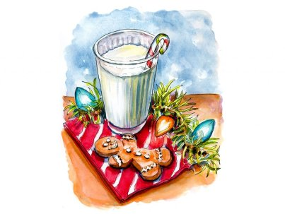 Day 24 - Cookies Milk Santa Watercolor - Doodlewash