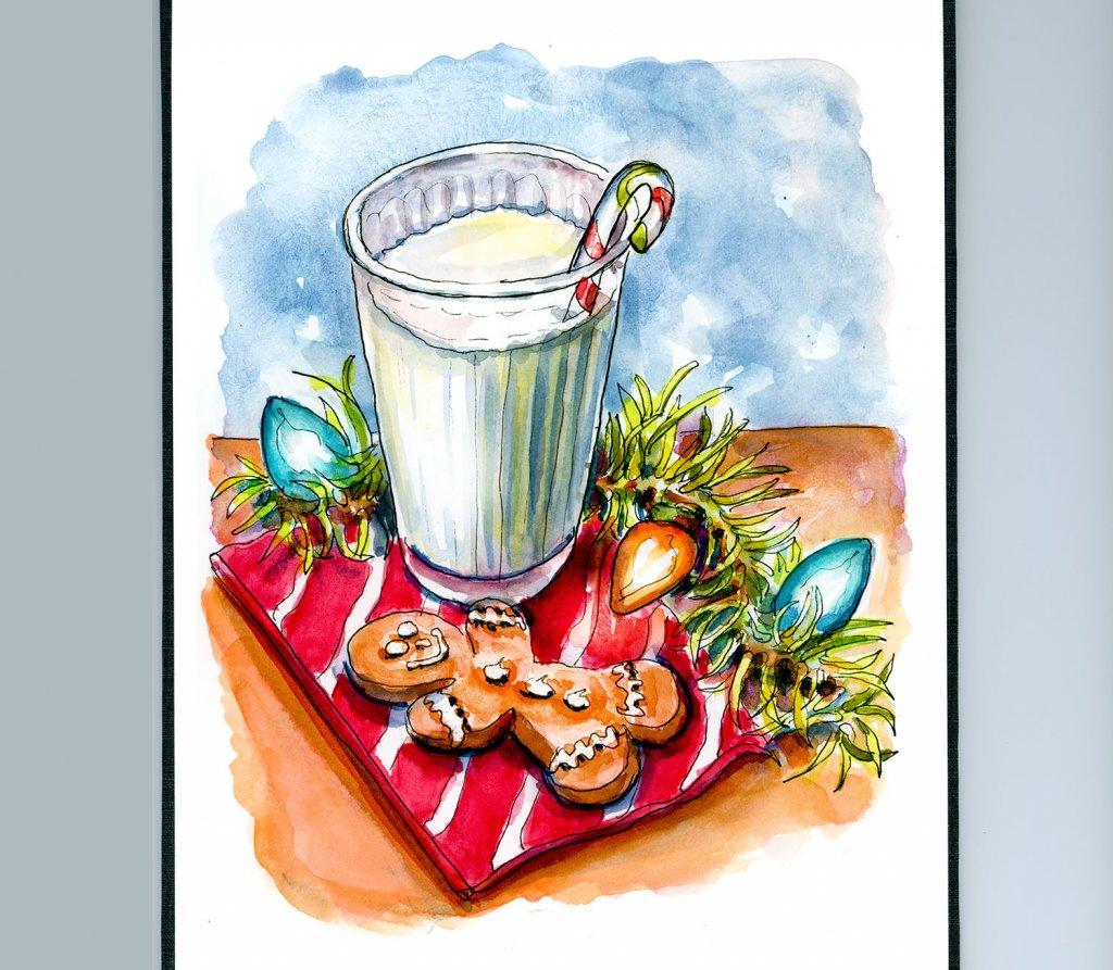 Day 24 - Cookies Milk Santa Watercolor - Sketchbook Detail - Doodlewash