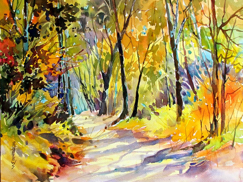 Watercolor by Rae Andrews - Fall Dazzle Tennessee watercolor 11 x 14