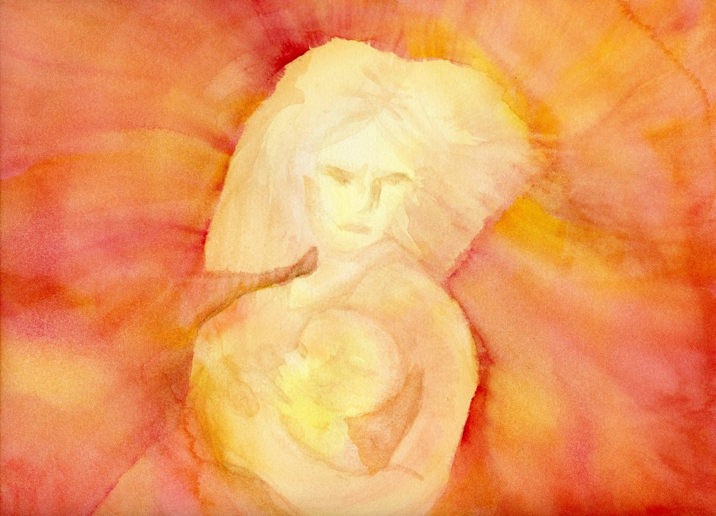 Mother and Child Watercolor Painting by Sandra Strait - Doodlewash