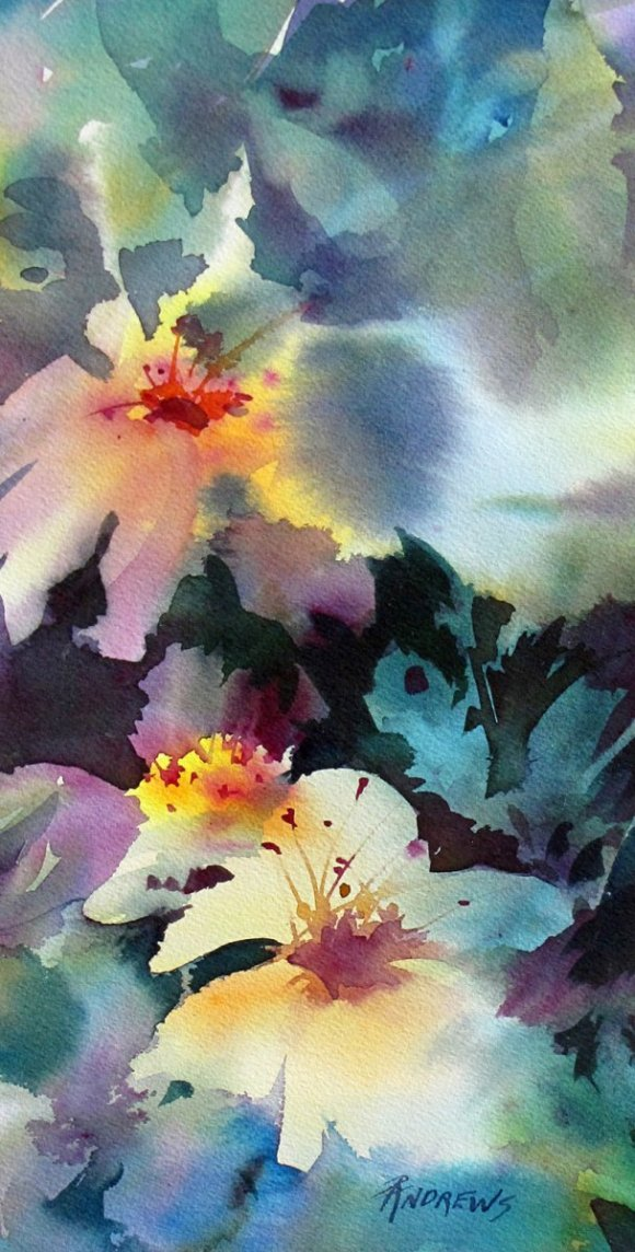 Watercolor by Rae Andrews - Happy Dance 2 watercolor 7 x 14