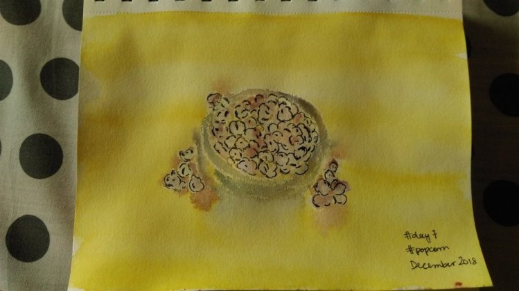 #day7 #popcorn I used bits of oil pastel too but ended up with popcorn that doesn't look like