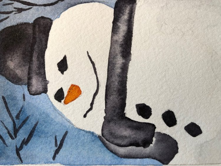 Snowman watercolor has me dreaming of snow, right now only rain. IMG_3816