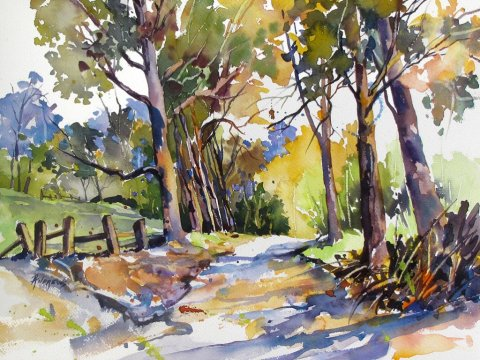 Watercolor by Rae Andrews - Olinda Trees Maui 12 x 16 watercolor