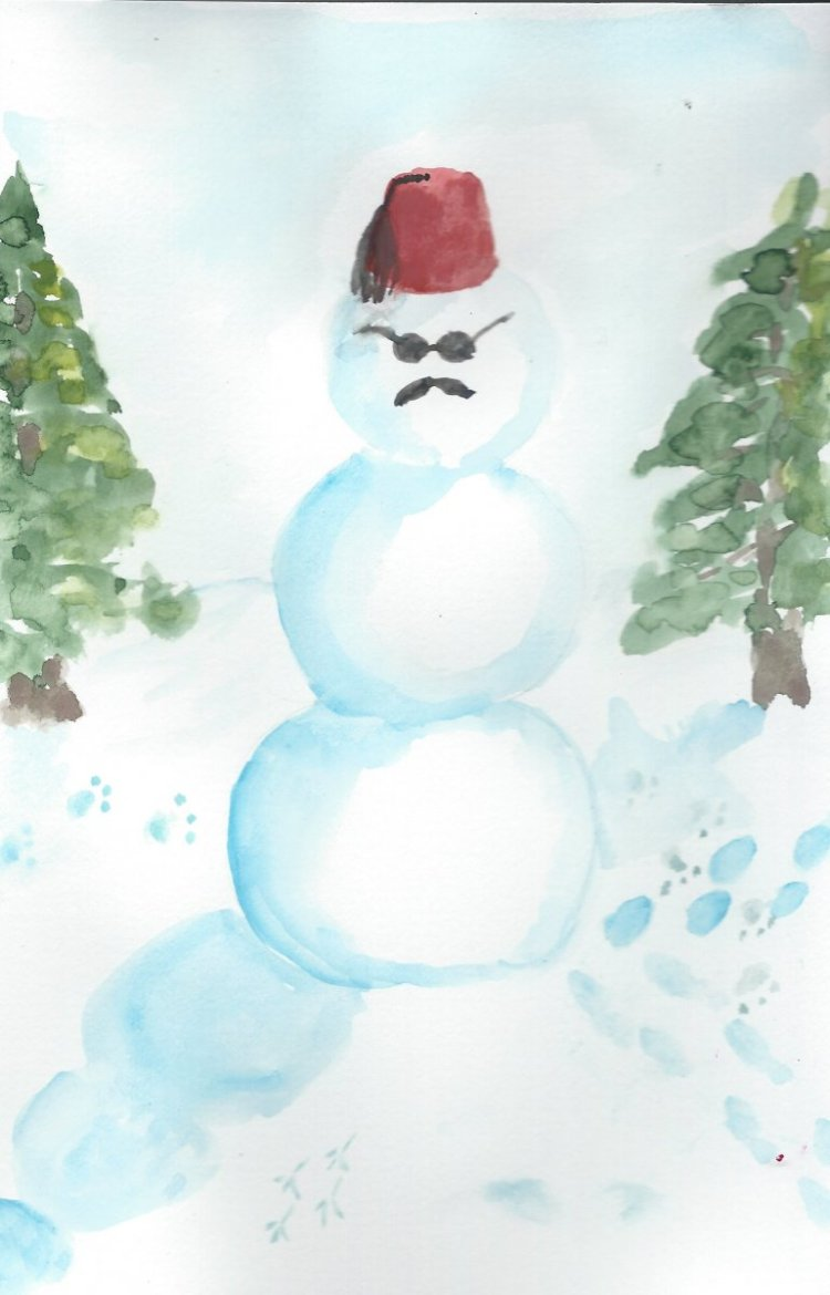 "I asked my husband, ""What kind of hat should my snowman wear?"" #doodlewashDecember2018 D"