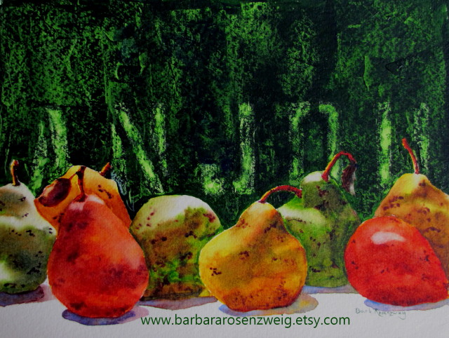 Anjou Pears Watercolor by Barbara Rosenzweig - Doodlewash
