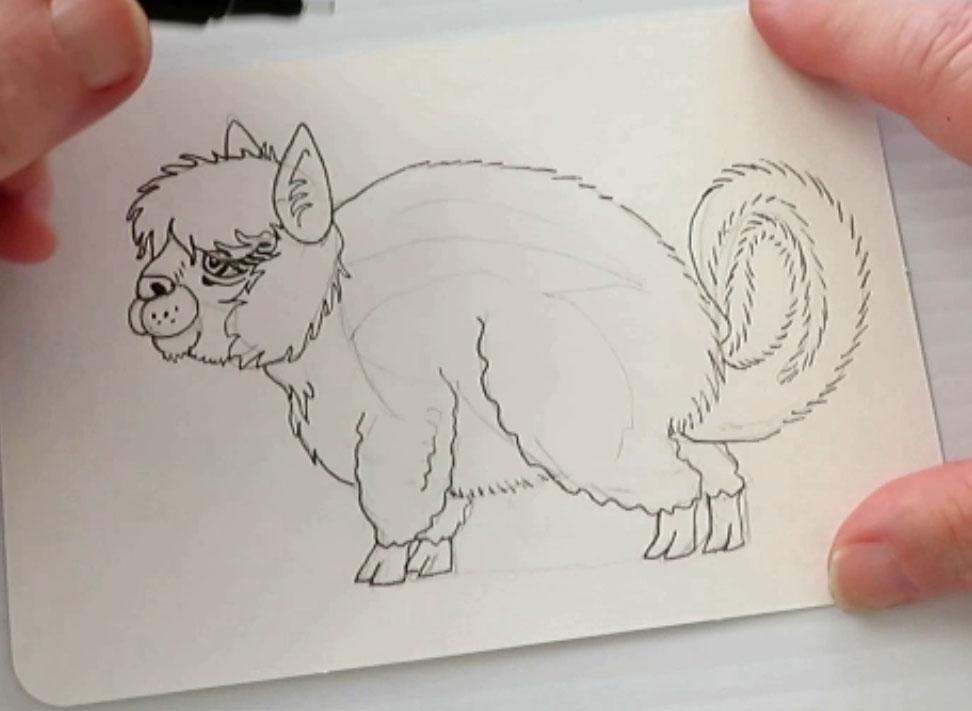 Pen Drawing - alebrijes acuarela watercolor alpacamunk
