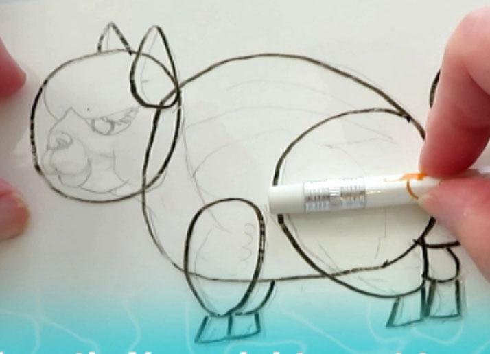 Drawing Body Back Legs - alebrijes acuarela watercolor alpacamunk