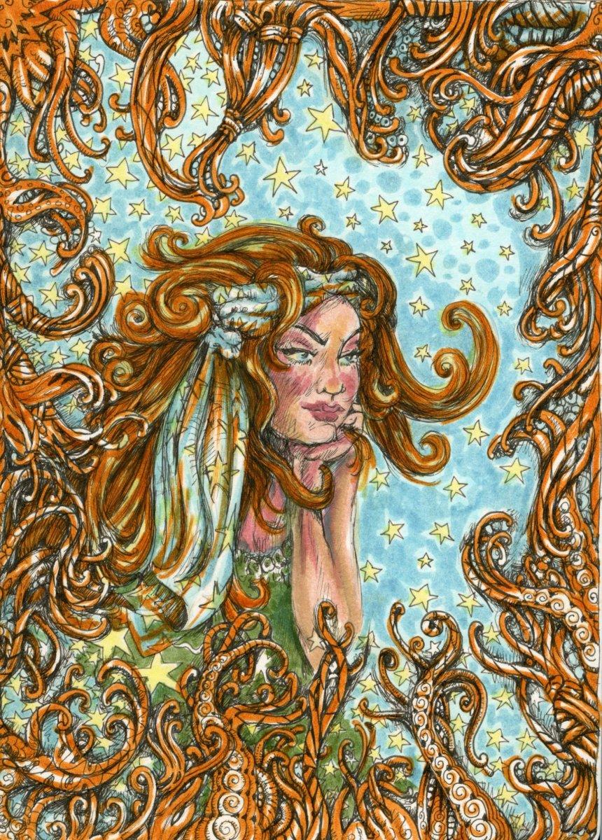 Watercolor Sketch Woman by Sandra Strait
