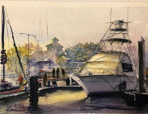 Bayfront Watercolor By Al Kline - Doodlewash