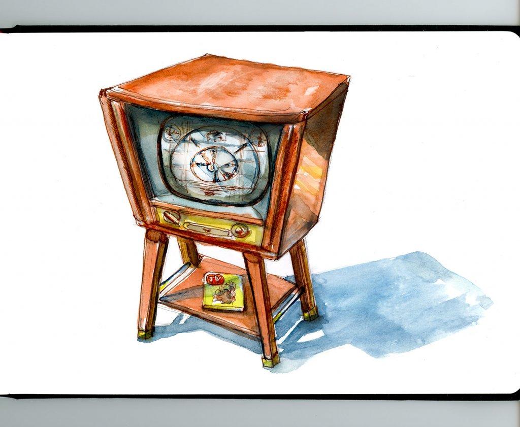 Day 11 - Vintage Antique Television Illustration - Sketchbook Detail - Doodlewash