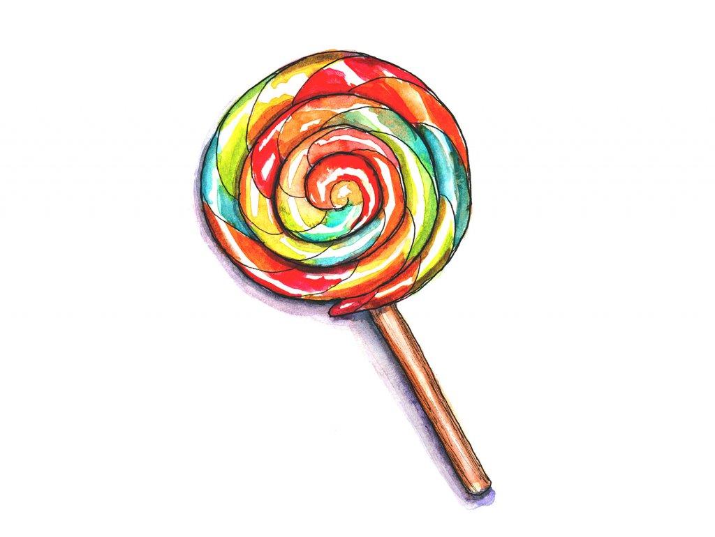 Day 13 - Lollipop Watercolor - Doodlewash