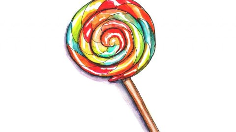 Day 13 - Lollipop Watercolor - Doodlewash
