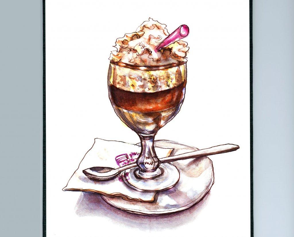 Day 15 - Irish Coffee In Paris Watercolor - Sketchbook Detail - Doodlewash