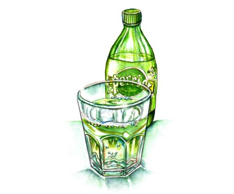 Day 17 - Perrier Bottle And Glass Watercolor - Doodlewash