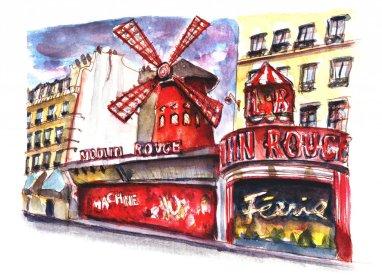 Day 18 - Moulin Rouge Watercolor Sketch - Doodlewash