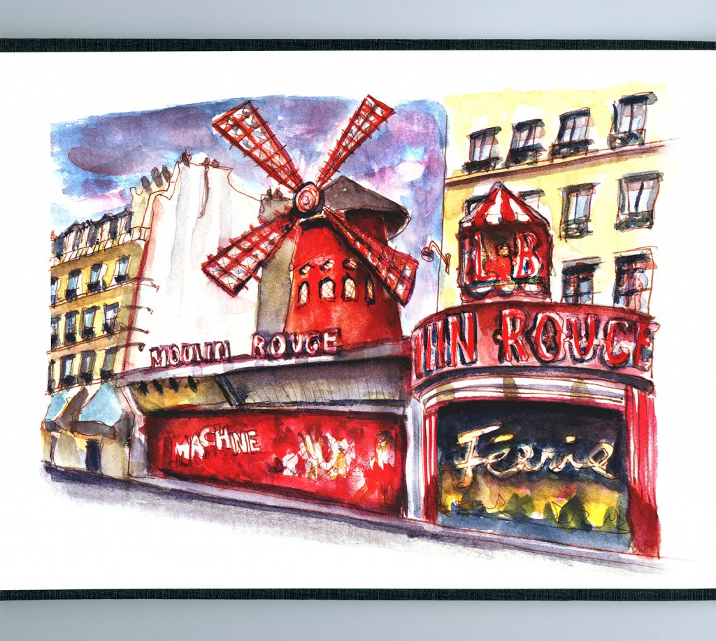 Day 18 - Moulin Rouge Watercolor Sketch - Sketchbook Detail - Doodlewash