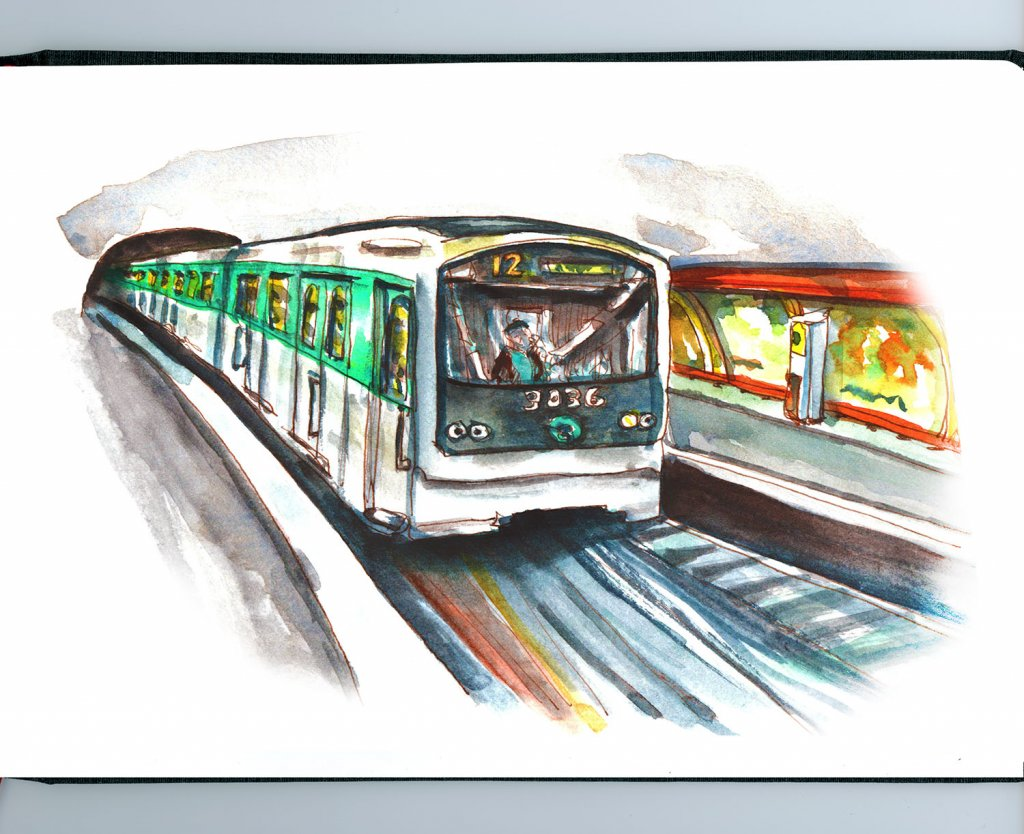 Day 21 - Paris Metro Train Watercolor - Sketchbook Detail - Doodlewash