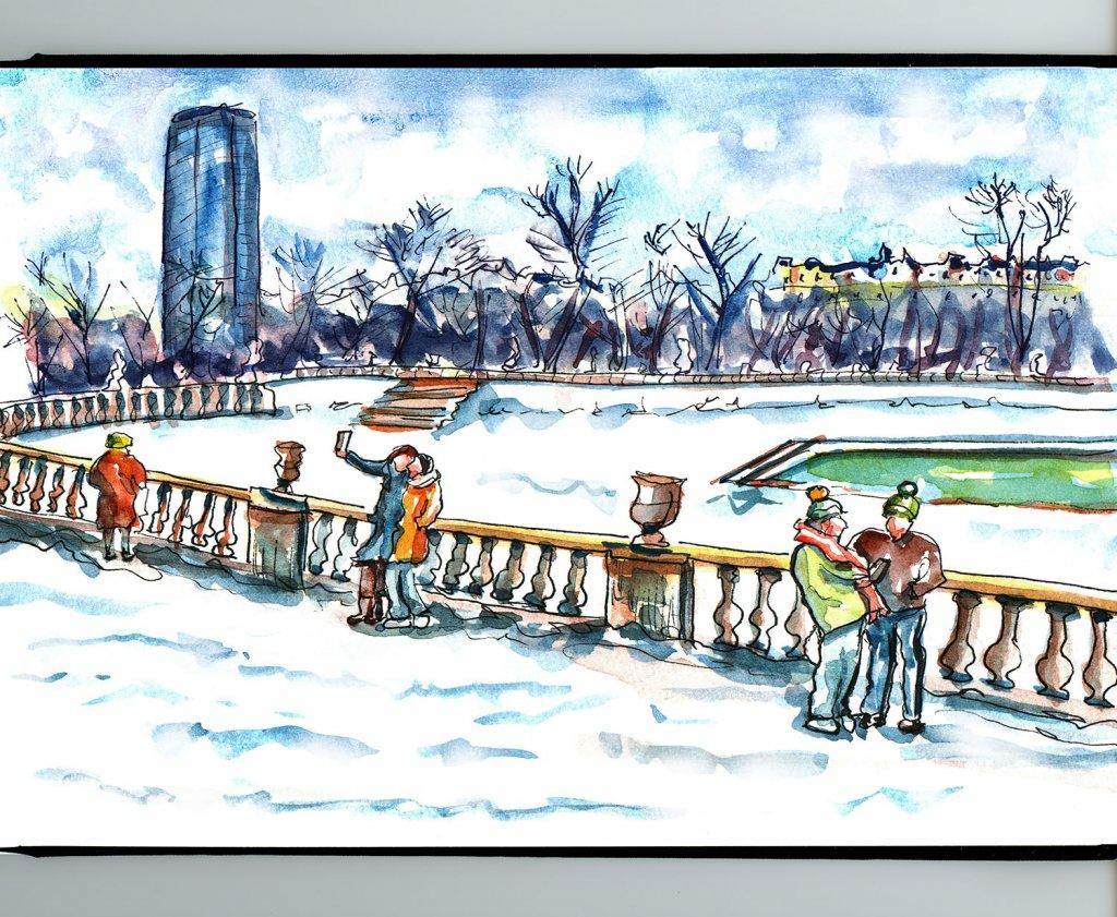 Day 22 - Paris Jardin du Luxembourg Gardens Watercolor - Sketchbook - Doodlewash