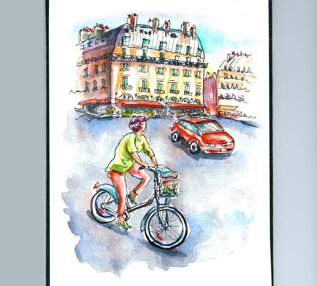 Day 23 - Bicycle In Paris Watercolor - Sketchbook Detail - Doodlewash
