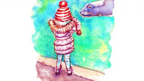 Day 24 - Seals Zoo Little Girl Watercolor - Doodlewash