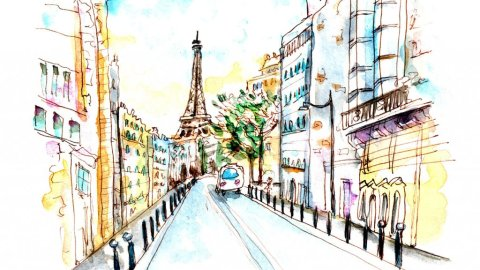 Day 25 - Eiffel Tower Watercolor Sunset Sketch - Doodlewash