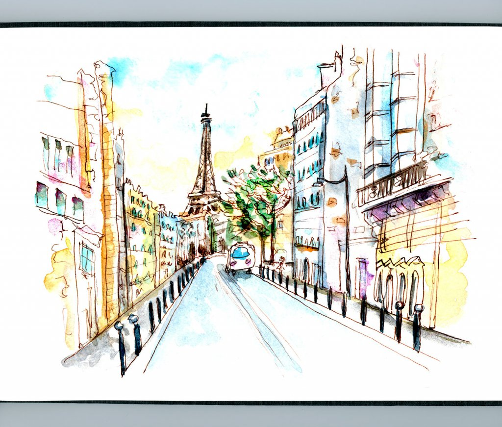 Day 25 - Eiffel Tower Watercolor Sunset Sketch - Detail - Doodlewash