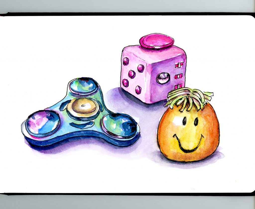 Day 29 - Fidget Toys Cube Spinner Stress Ball Watercolor - Detail - Doodlewash