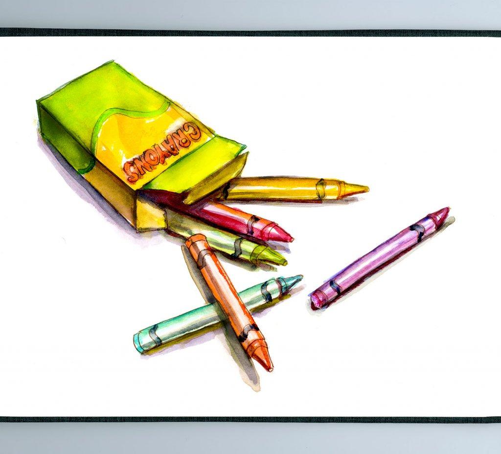 Day 3 - Box Of Crayons Watercolor - Sketchbook Detail - Doodlewash