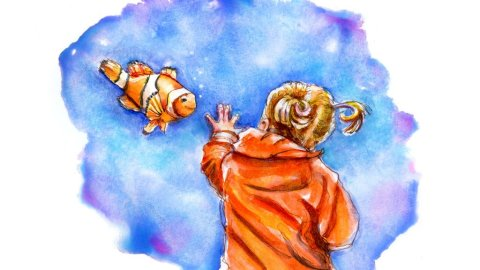 Day 4 - Finding Nemo Aquarium Watercolor - Doodlewash