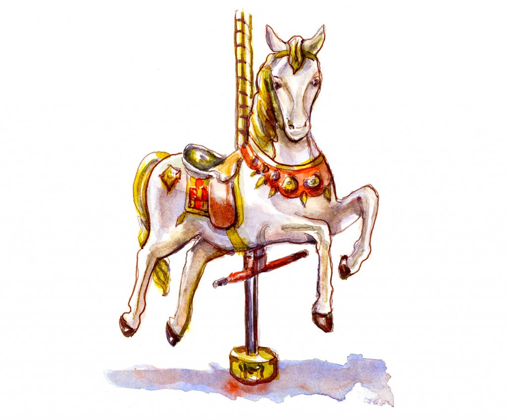 Day 5 - Carousel Horse Watercolor - Doodlewash