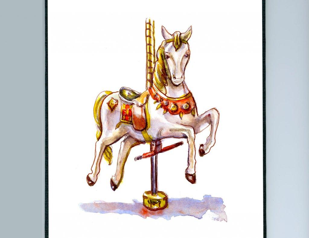 Day 5 - Carousel Horse Watercolor - Sketchbook Detail - Doodlewash