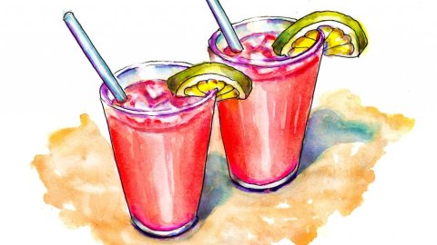 Day 6 - Cherry Limeades Drinks Beach Illustration - Doodlewash