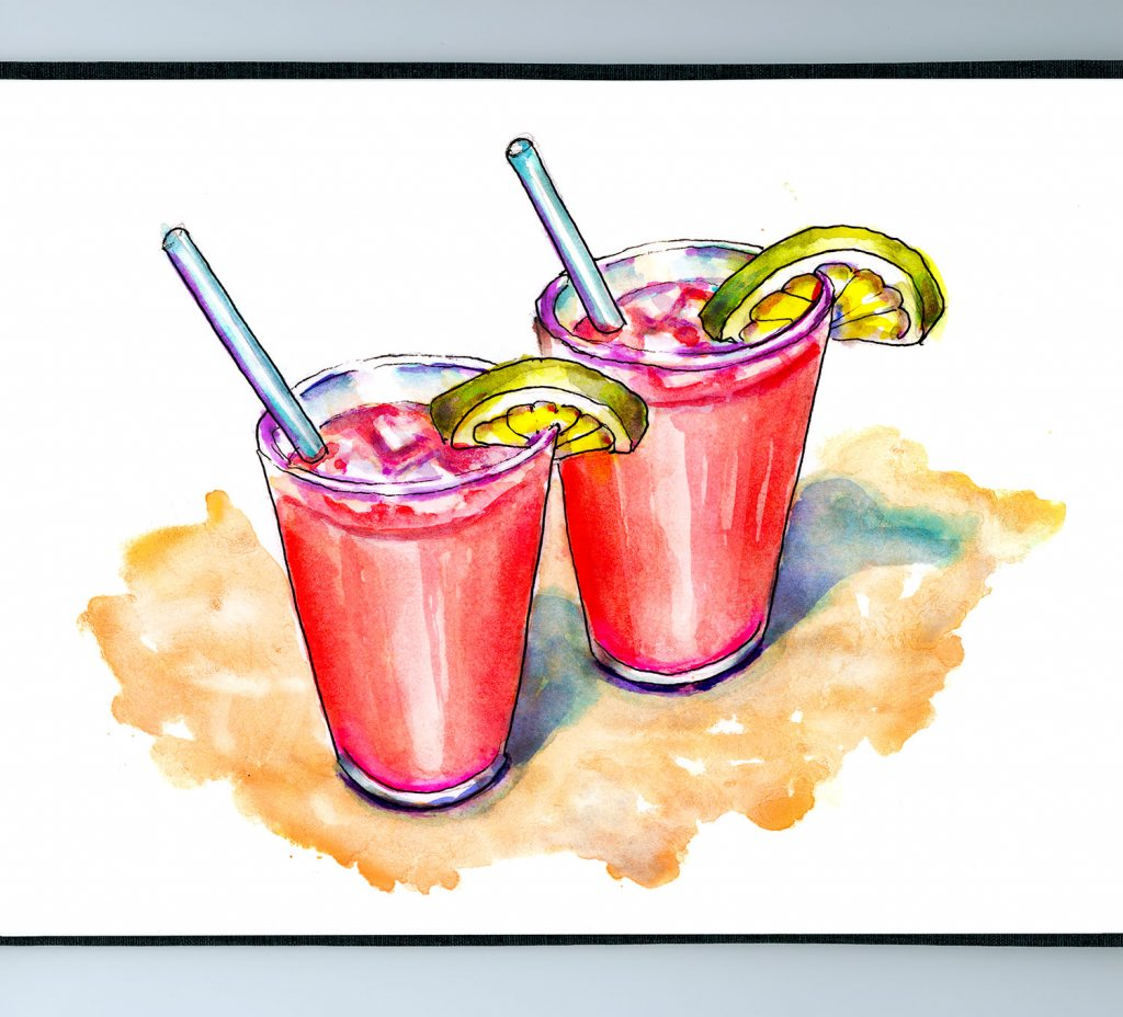 Day 6 - Cherry Limeades Drinks Beach Illustration - Sketchbook Detail - Doodlewash