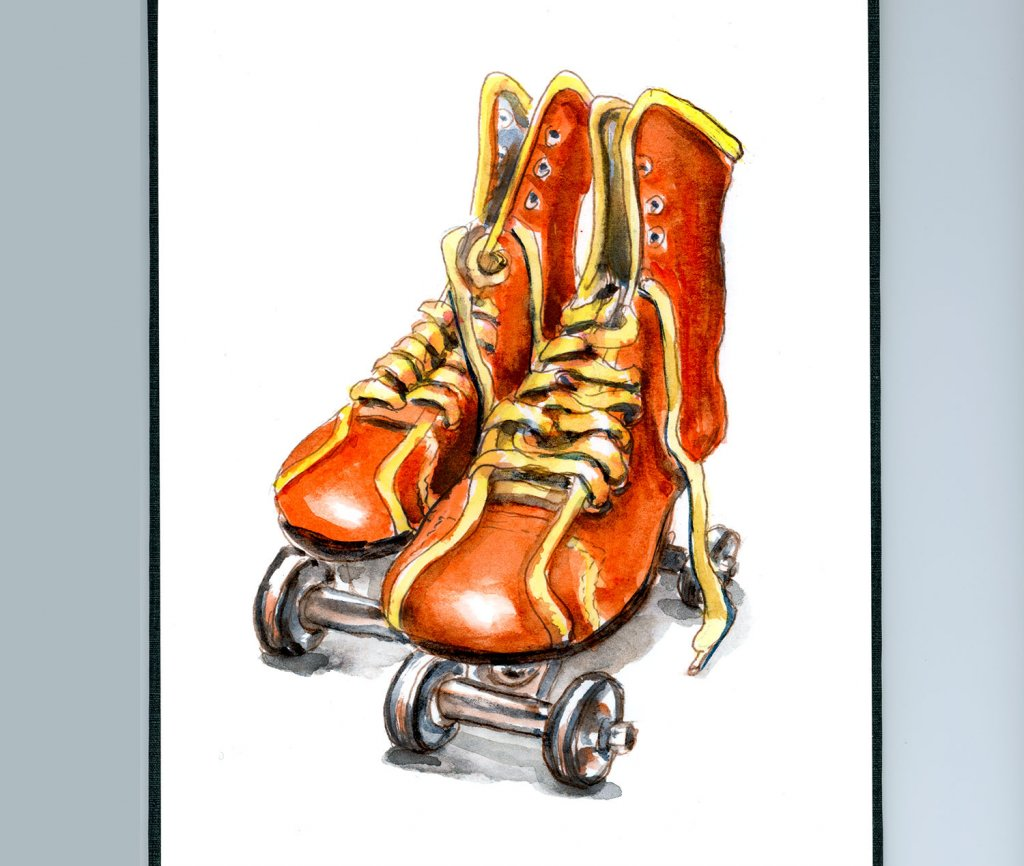 Day 9 - Vintage Roller Skates Watercolor - Sketchbook Detail - Doodlewash