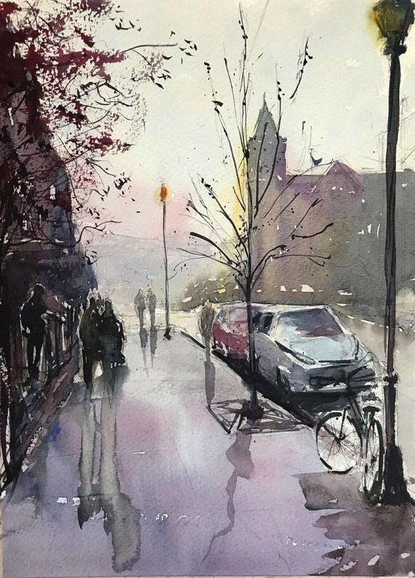 Denver Street Near Lingers Watercolor By Al Kline - Doodlewash