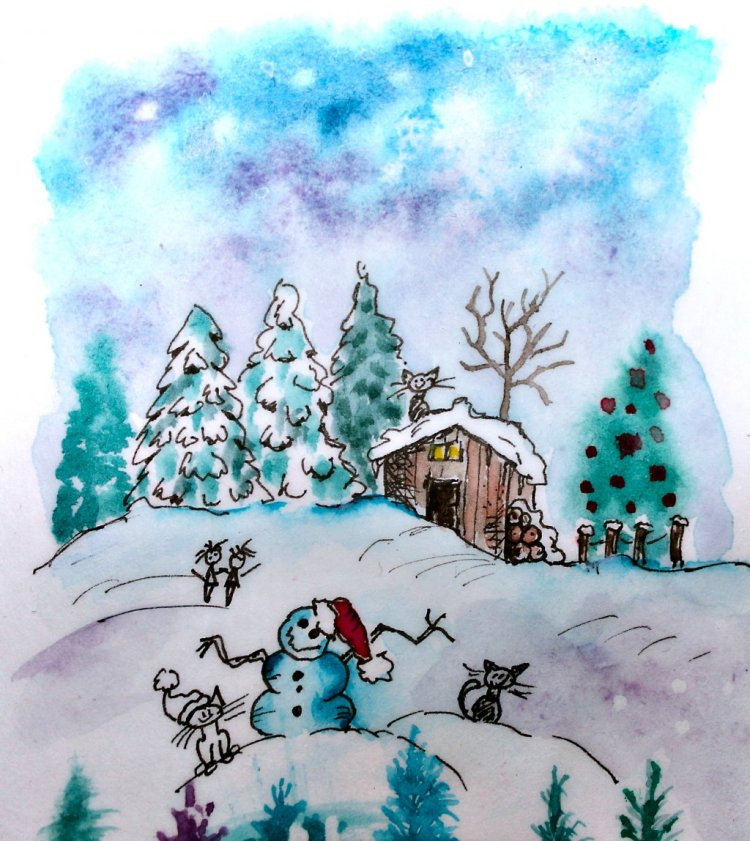 """Another sketch just for fun. """"Goodbye Christmas"""" IMG_7968😃_01"""