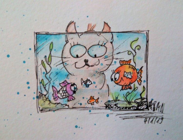 A little sketch fun aquarium. #doodlewashJanuary2019, #day4. I wish a nice sunday to all. PHOTO_2019