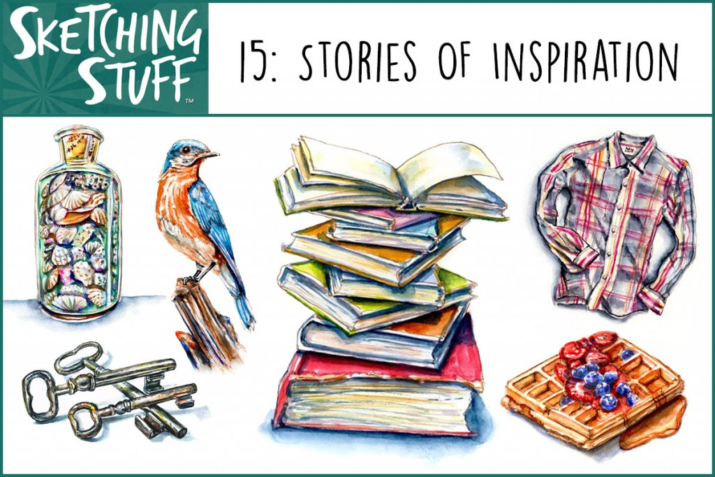 Sketching Stuff Podcast Episode 15 Artwork - Stories of Inspiration - Doodlewash