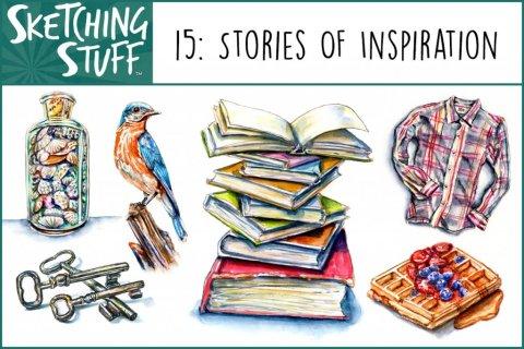 Sketching Stuff Podcast Episode 15 Artwork - Stories of Inspiration - Doodlewash