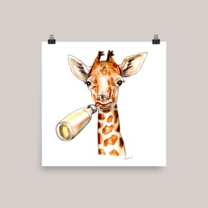 Baby Giraffe Watercolor Print Buy