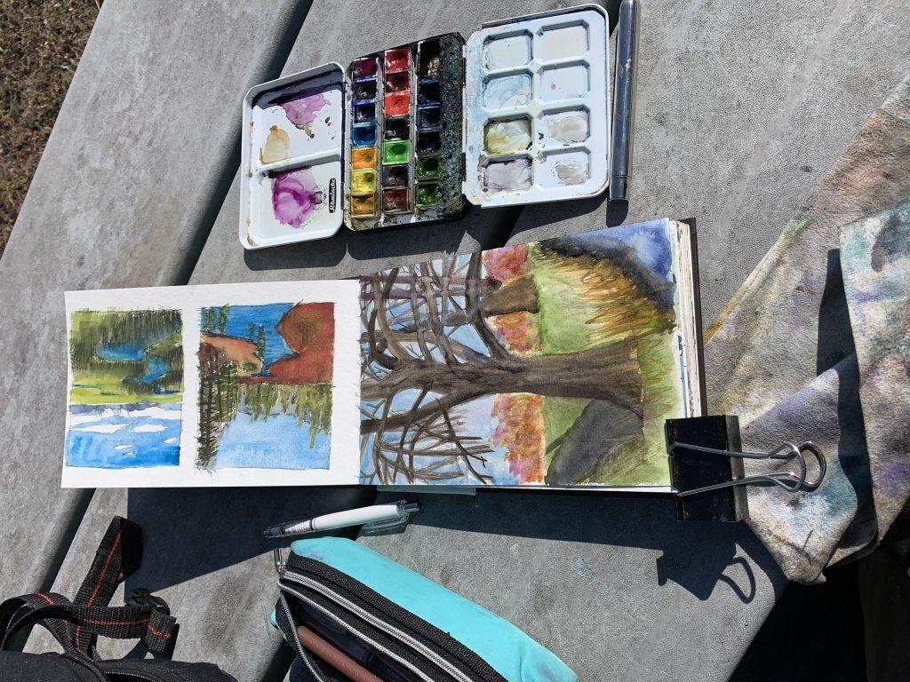 Lunch break watercolor with my schmincka set and watercolor journal by strathmore C180B96E-B9FD-46DE