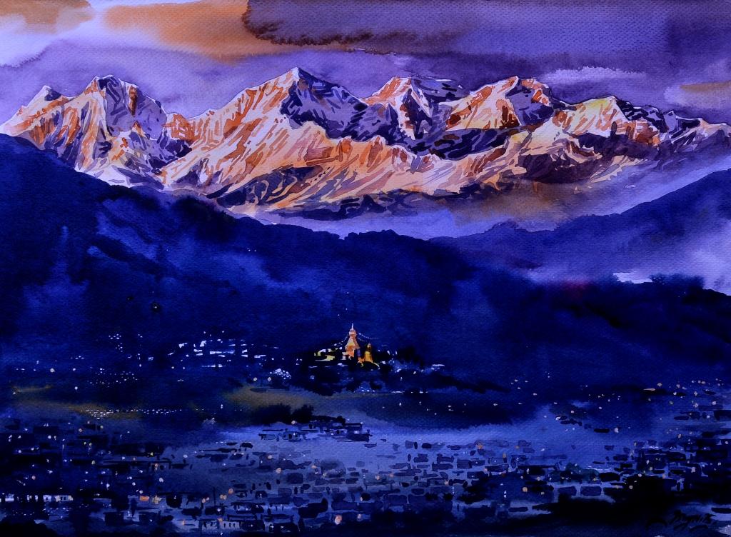Kathmandu Valley Watercolor on paper 15×11 inch 2015 SOLD _DSC0082_2