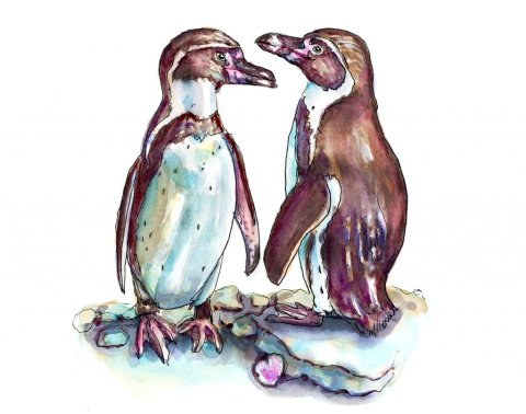 Day 14 - Penguins In Love Watercolor - Doodlewash