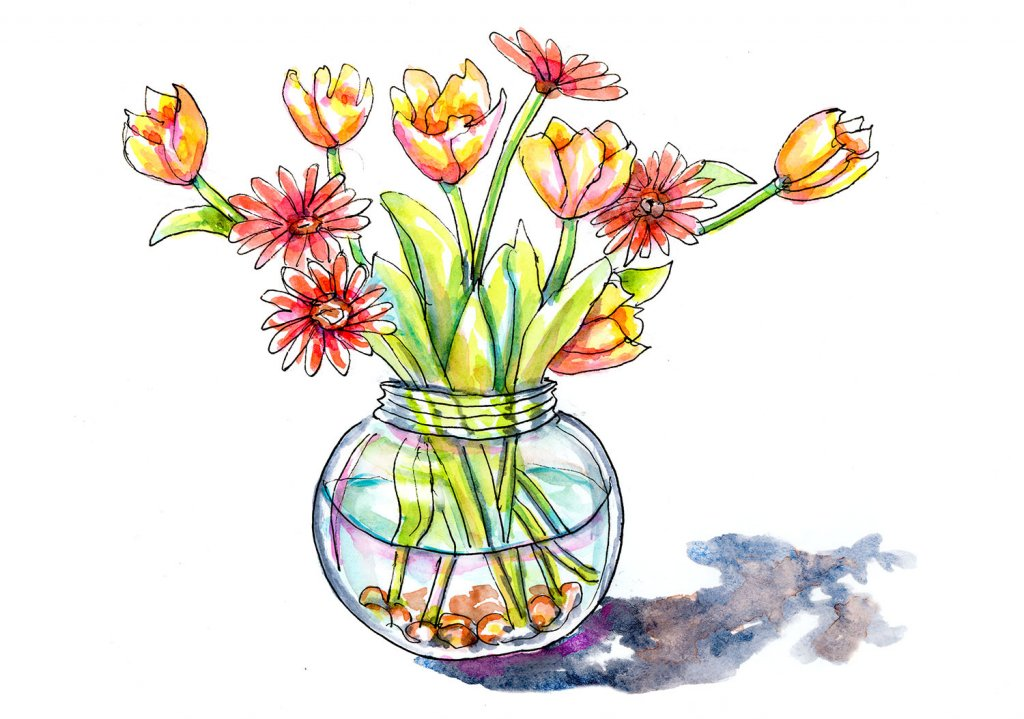 Day 26 - Tulips Watercolor Vase - Doodlewash