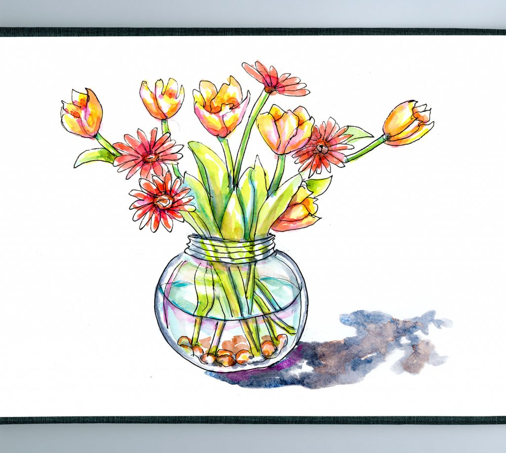 Tulips Watercolor Vase - Doodlewash