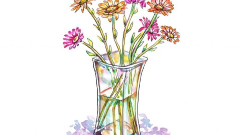 Day 28 - Gerbera Daisies Watercolor - Doodlewash